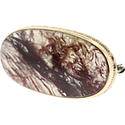 Vintage Red Moss Agate 14k Yellow Gold Brooch