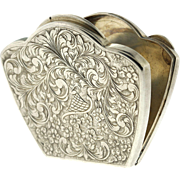 Vintage 800 Silver Hand Chased Clamshell Floral Compact