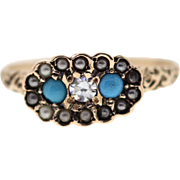 Victorian Turquoise Diamond Seed Pearl 10k Yellow Gold Engraved Ring