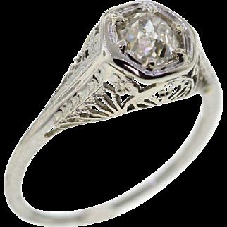 Vintage Old Mine Cushion Cut 18k White Gold Diamond Engagement Ring