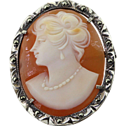 Sterling Silver Vintage Cameo Pin Pendant with Marcasites