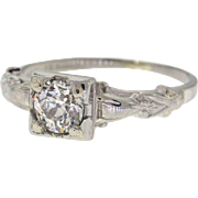 Old European Cut Diamond Mid Century 18k White Gold Engagement Ring