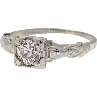 Old European Cut Diamond Mid Century 18k White Gold Engagement Ring