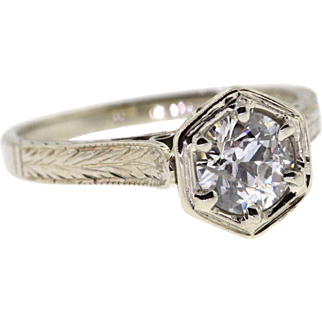 Art Deco Old European Cut Diamond 14k White Gold Engagement Ring
