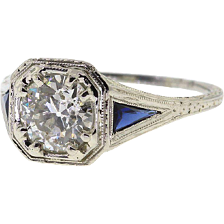 SALE! Art Deco 1.35ct Old European Cut Diamond Filigree Engagement Ring