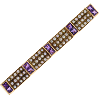 Vintage Amethyst & Seed Pearl 14k Yellow Gold Bar Pin