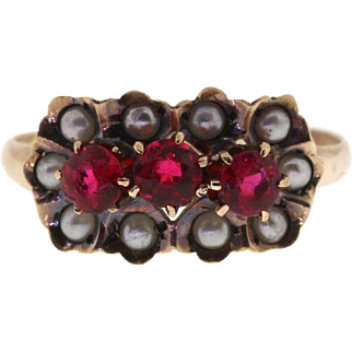 Victorian 14k Yellow Gold Synthetic Ruby & Seed Pearl Antique Ring