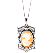 Antique Sterling Silver & Old Mine Diamond Cameo Pendant