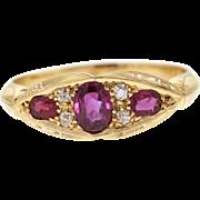 Antique Ruby & Diamond 18k Yellow Gold Ring, 1905 Hallmarked
