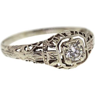 Vintage Floral Filigree 14k White Gold Diamond Ring