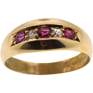 Antique 18k Ruby & Diamond Band, Edwardian Hallmarked 1905