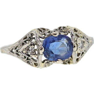 Vintage Cushion Cut Sapphire Ring 18k White Gold Filigree Ring