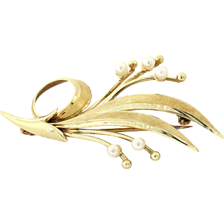 Vintage Tiffany & Co 14kYellow Gold Floral Pearl Pin