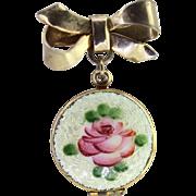 Vintage Rose Enamel Pin Locket