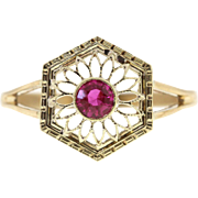 Vintage Natural Ruby 14k Yellow Gold Conversion Stick Pin Ring