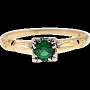 Vintage Green Tsavorite Garnet 14k Yellow Gold Ring