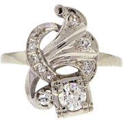Vintage White Gold Old European Cut Diamond Ring