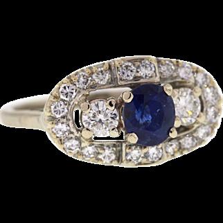 Sapphire & Diamond 14k White Gold Mid Century Ring
