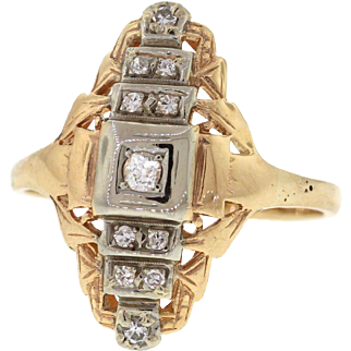 Vintage 14k Gold Diamond North South Dinner Ring