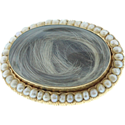 Victorian 18k Gold Hair Mourning Brooch with Seed Pearls
