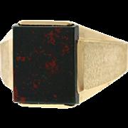 Vintage Men's Bloodstone & 10k Yellow Gold Bloodstone Ring