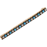 Victorian Turquoise & Seed Pearl 12k Rosey Gold Bar Pin Brooch