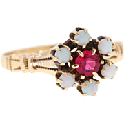 Antique Ruby & Opal Ostby Barton 10k Yellow Gold Ring