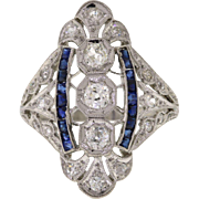 Edwardian Platinum Diamond & Sapphire Dinner Ring