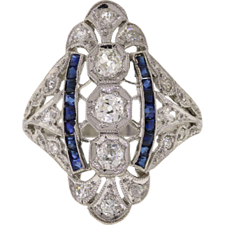 Edwardian Platinum Diamond & Sapphire Dinner Ring