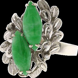 Vintage 18k White Gold Jade & Diamond Statement Ring