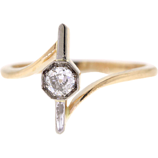 Old Mine Diamond Stick Pin Conversion Ring, 14k Yellow Gold & Platinum