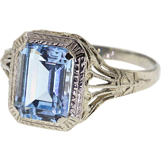Vintage Art Deco Simulated Aquamarine Filigree Ring, 14k White Gold
