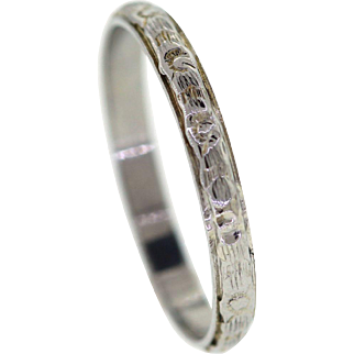 Art Deco 18k White Gold Orange Blossom Etched Belais Wedding Band
