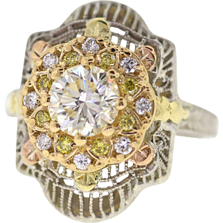 Art Deco Filigree Yellow Diamond Engagement Ring