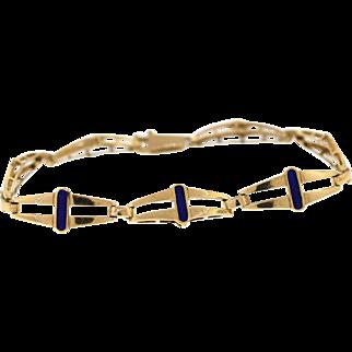 Vintage 18k Yellow Gold Blue Enamel Bracelet, Italian Hallmarked
