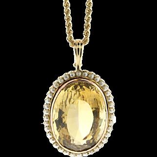 Vintage 80ct Citrine & Pearl 14k Rose Gold Pendant