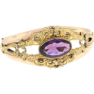 Edwardian Gold Filled Amethyst Glass Hinged Bracelet