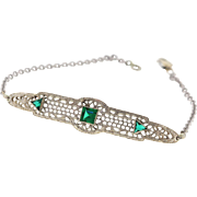 Art Deco 14k White Gold Synthetic Emerald Filigree Bracelet, Upcycled