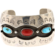 Vintage Sterling Silver Turquoise & Coral Navajo Made Cuff Bracelet