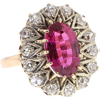 Antique Victorian 14k Rose Gold Pink Tourmaline & Diamond Ring