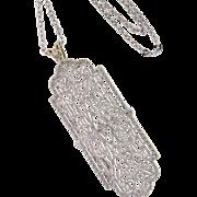 Art Deco 10k White Gold Filigree Brooch Conversion Pendant