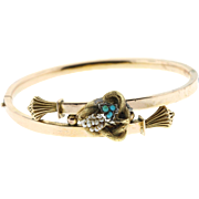 Victorian 14k Gold Turquoise & Pearl Hinged Bangle Bracelet
