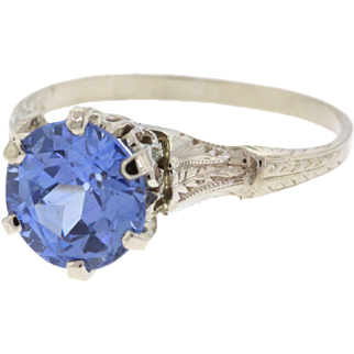 Art Deco 14k White Gold Unheated Blue Sapphire Ring