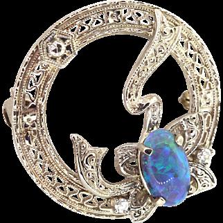 Vintage Filigree 14k White Gold Opal & Diamond Pin, Wreath Bow Brooch