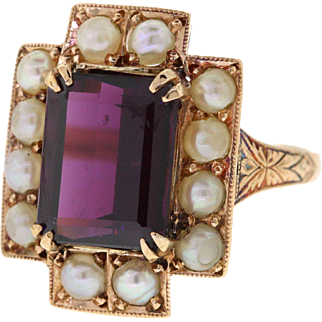 Victorian 18k Rose Gold Garnet & Pearl Ring