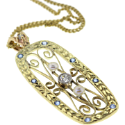 Edwardian 14k Green Gold Diamond & Sapphire Conversion Pendant