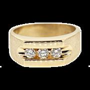 Vintage Men's 14k Yellow Gold Three Diamond Ring
