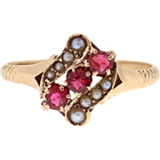 Victorian Opal & Rose Cut Diamond 10k Yellow Gold Ring