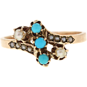 Victorian Turquoise & Seed Pearl 10k Yellow Gold Ring