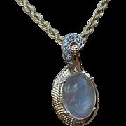Vintage 14k Gold Blue Moonstone Pendant Necklace, Blue Moonstone Antique Pendant